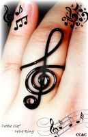 Treble Cleft Wire Wrap Ring by LadyAriessTemptra