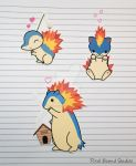 Cyndaquil/Quilava/Typhlosion Stickers and Magnets by ashynekosan