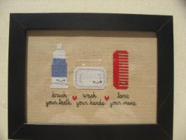 Kawaii bathroom cross stitch by avatarswish