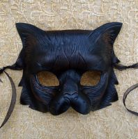 Longhaired Black Cat Mask by merimask