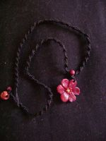 Macrame and fimo flower necklace by moonlightflower99