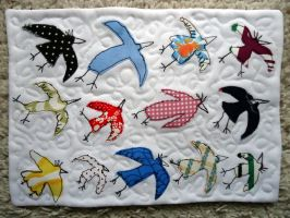 Mini-Quilt '13 birds' by Waldbraut