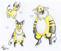 Fakemon - Electric pigs by Fennu