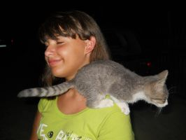 Cat jumped on the shoulder by FuriarossaAndMimma