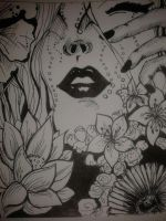 Pen and Ink lips by esha28