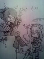 Kim and Bebe Panty and stocking style drawing by BebeKimichi