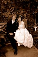 Sepia Bride and Groom by butterflypromqueen