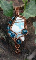 Aqua blue sea pottery pendant by ukapala