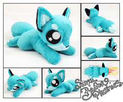 10in Teal and Light Blue Fox Plush by TheHarley