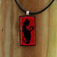 Red Cat Fused Glass Pendant by FusedElegance