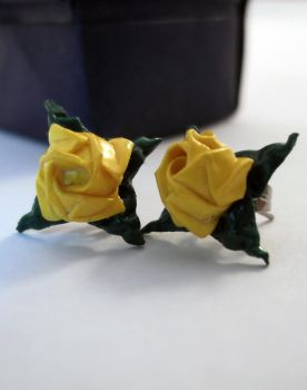 Joyous Origami Rose Earrings by PeryB