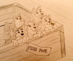 Balto and Jenna's Pups by cookiefur
