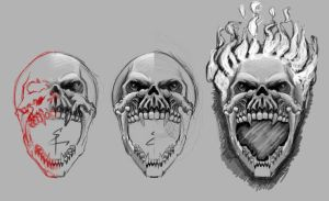 Step by step, flaming skull by etlgfx