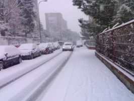 Snow on the Street in Madrid by Tay-GSi