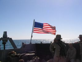 Old Glory on the way to Iraq by SteelClaw