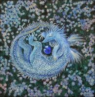 a forget-me-not baby-dragon by barbarasobczynska