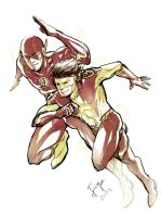 The Flash and Kid Flash by onlyfuge