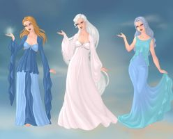 Aura, Chione and Nephele by PoisonDLucy13