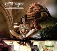 Megan Fox as Princess Leia Slave with Jabba The Hu by c-edward