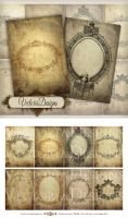 Printable Tattered Frames ATC size by VectoriaDesigns