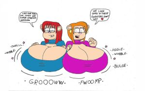 Annie and Lindsey Keyhole sweater breast Expansion by Redstorm-87