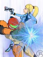 Samus and ZSS by almightyminiman