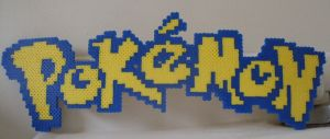 Pokemon: Perler Bead Pokemon Logo by heatbish