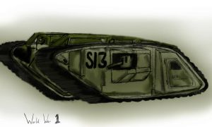WWI tank by darkangeliv