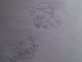 Kid Goku and Tails by kenyon369