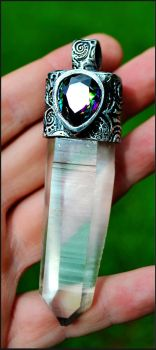 Lemurian and Mystic Topaz Pendant by songofabanshee