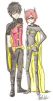 Robin and Batgirl by kittycatalice