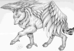 The Orginal Winged Wolf by Kidwingedwolf