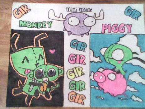 Invader Zim: Gir,Monkey Pig, And Mini Moose! by ZamsFairy
