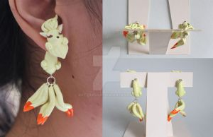 Nine Tails Pokemon Polymer Clay Earrings by ArtzieRush