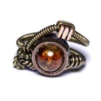 Steampunk amber orange ring by CatherinetteRings