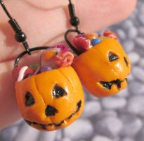 Pumpkin bucket earrings by carmendee