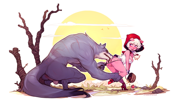 Big bad wolf and Emelie by CyanCapsule