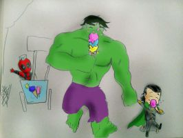 Loki and his big friend by Omnipotrent