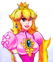 Princess Peach Melee Portrait Colored by Kiwii3364