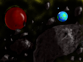 Asteroid Belt from another Solar System by obake-the-sincere