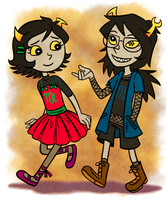 Little Kanaya and Vriska by Liralicia