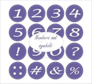 Stitched numbers and symbols by Tiyda