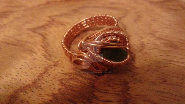 Emerald city Wire wrapped ring by woodwireandstone