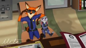 Nick and Judy in Chief Bogos Office by Mr-Punctual