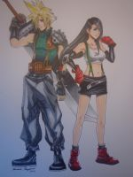Cloud and Tifa Drawing by MasteringAnime