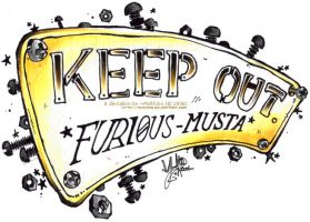 KEEP OUT+Furi0us MustA' Plate by McRhino