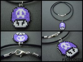 Handmade Seed Bead Poison Mushroom Necklace by Pixelosis