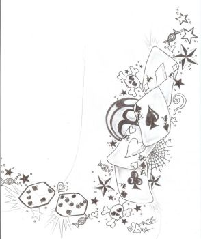 Tattooflash Gamble Skull Dices by 2Face-Tattoo