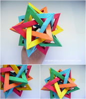 Origami Five Intersecting Tetrahedra by OrigamiPieces