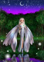 Silver fairy on the lake by Foxi-5